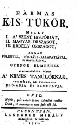 A Hármas Kis Tükör harmadik pozsonyi kiadásának címlapja