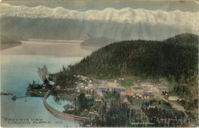 Az alaszkai Cordova látképe egy 1910-es képeslapon: itt éltek az eyak őslakosok