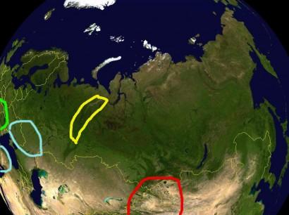 Az Altaj (piros), az Urál (sárga), az indoeurópai őshaza feltételezett helyei (kék) és a Kárpát-medence (zöld)