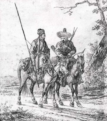 A. Orlovszkij: Két baskír lovas (1814)