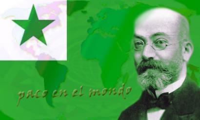 Zamenhof az eszperantó zászló előtt