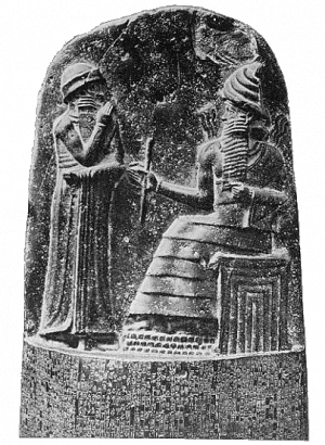Hammurábi törvényoszlopa. Sámás isten átadja az uralkodónak a törvényeket