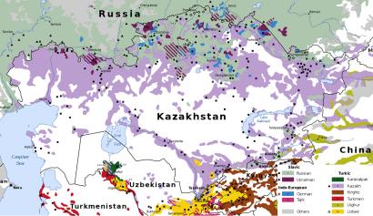 Kazahsztán nyelvi térképe, 20 évvel ezelőtti adatok alapján.