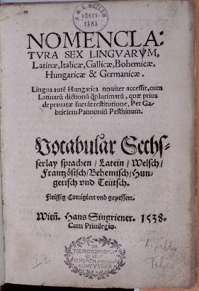Pesti Gábor (Bécs, 1538) hatnyelvű fogalomköri szótárának címlapja. Forrás: a szerző