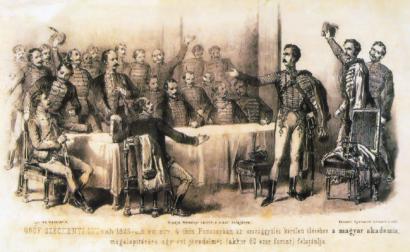 Széchenyi István felajánlja birtokainak egyévi jövedelmét egy Tudós Társaság alapítására (litográfia) - az önözés ebben a korban terjedt el
