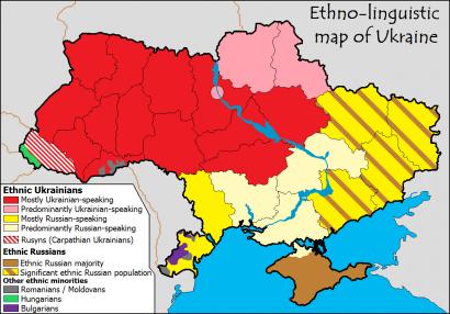 Ukrajna etnikai-nyelvi képe. Ukránok piros: ukrán nyelvű, rózsaszín: főleg ukrán nyelvű, sárga: orosz nyelvű, fehér: főleg orosz nyelvű. Oroszok: barna.