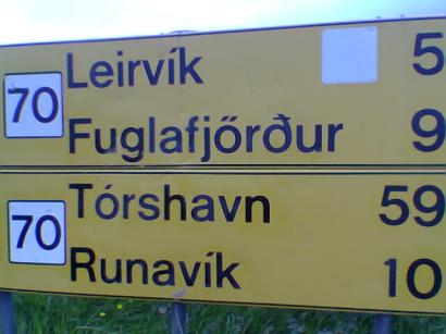 Útjelző tábla a Feröer-szigetekről