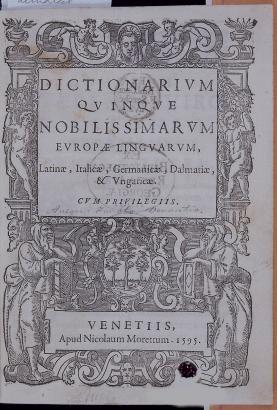 Verancsics Faustus (Velence, 1595) ötnyelvű szótárának címlapja. Forrás: a szerző