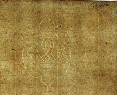 Vízjel a Copiale Cipher papírján. A jobb felső sarokban kódolatlan a felirat.